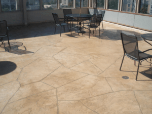 Flagstone Pattern Finish Suede Color Wash with Tan Grout