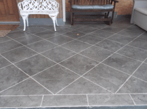 Tile Pattern Finish Ash Color Wash with White Grout